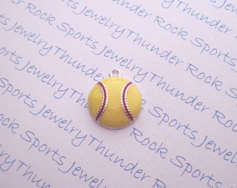 3 SOFTBALL CHARMS, Antique Silver, yellow enamel, PENDANTS, red laces, Sports, ball, player jewelry, softball mom