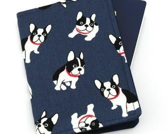 Boston Terrier Dogs on Navy Passport Holder, Passport Cover, Passport Wallet, Passport Case, Travel Gift