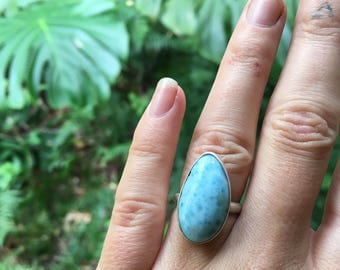 Larimar ring // size 6.25 // one of a kind // made in byron bay // recycled sterling silver