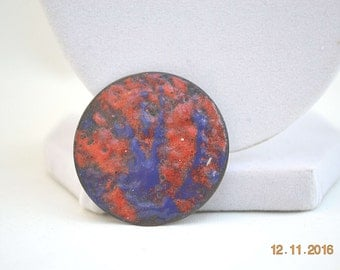Enamel Brooch, Copper Brooch, Vintage Brooch, 1960's Brooch, Abstract Copper Brooch, Vintage Pin, Red and Blue Brooch