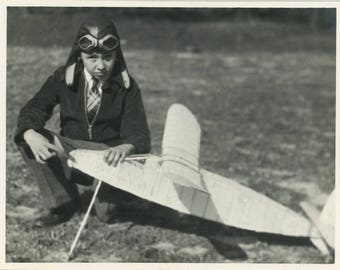 vintage photo Young Wanna BE Pilot Aficionado Boy w His Model Airplane
