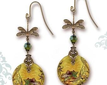 Poppy Dragonfly Earrings - Voyageur - Sage Poppy Dragonfly Art Nouveau Style 2 sided Glass dangle earrings - Nouveau Jardin Collection