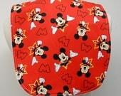 Youth/Junior Girl Bib, Special Needs, Cerebral Palsy, Epilepsy, Retts Syndrome, Drooling, 14-inch neck opening: Mickey Mouse on Red