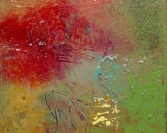 Echoes 37 - Original Signed Abstract Painting, Acrylics on Canvas, 12 x 12 inches by 1-1/2 inch deep