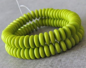 6mm Matte Chartreuse Czech  Glass Bead Rondelle Spacer : 50 pc Green Rondelle Beads