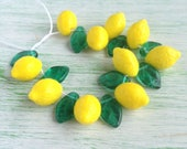 Lemon Fruit Beads w Emerald Green Leaf Czech Glass Great for Charms Jewelry Making