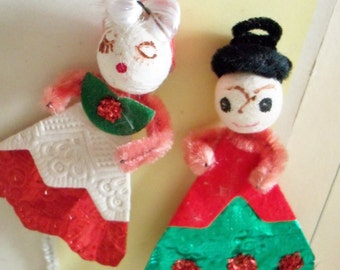 Vintage / Christmas Figures / Two Items / Package Tie-Ons / Spun Cotton Heads / German Glass Glitter