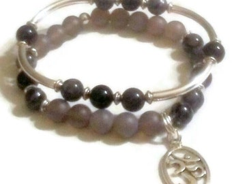 FREE GIFT with purchase  Black agate Grey matte agate labradorite with silver flecks namaste om charm bracelet set