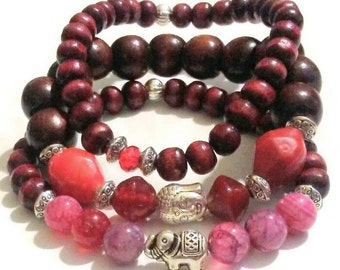 Special Buy Elephant bead red stripe Agate Wood bead bracelet, red and brown beaded bracelet, buddha bracelet, wood beads, buddha beads