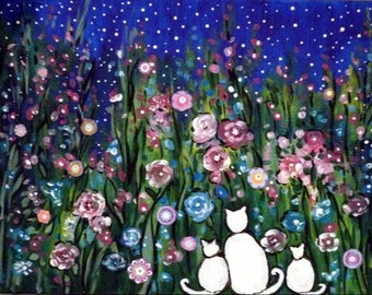 White Cat Family in Starry Flower Garden - 8 x 10 Buy 2 get 1 FREE  by  Vadal