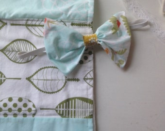 "Aqua + mustard ""New Baby"" gift set. Burpcloth + headband baby girl gift set. In stock , ready to ship. LAST ONE!"
