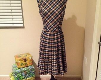 1950s Vintage Perfect Plaid Dress S