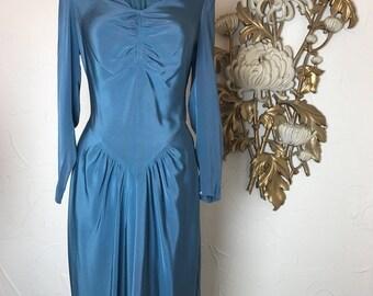 Fall sale 1940s dress teal dress iridescent dress size medium cocktail dress film noir dress old Hollywood