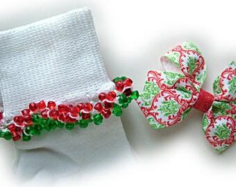 Kathy's Beaded Socks - Christmas Damask Socks and Bow, holiday socks, red socks, green socks, Christmas socks, glitter socks, tri bead socks