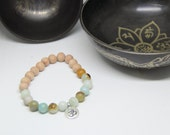 RESERVED Amazonite and rosewood mala yoga bracelet