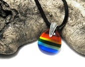 Glass Rainbow Pendant Necklace, Rainbow Jewelry, Glass Jewelry,Rainbow Necklace, LGBT
