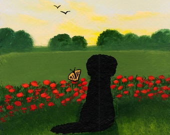 Newfoundland Dog ACEO Folk Art PRINT of Todd Young painting