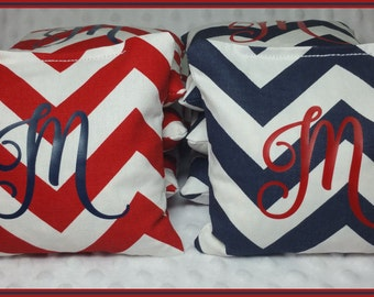 Personalized Cornhole Bags Corn Toss Bean Bags Bag Toss Set of 8 Chevron Red and Navy