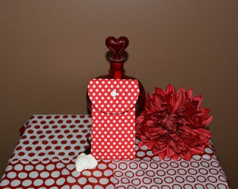 Pot Pouch in a striking red and white polka dots