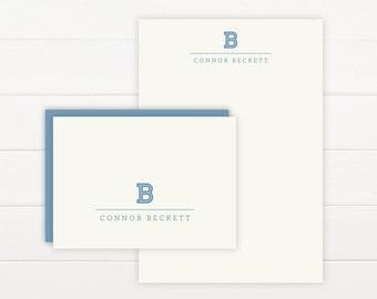 INLINE Personalized Stationery + Notepad Set, Personalized Notepad and Personalized Stationary - Business Masculine Monogram