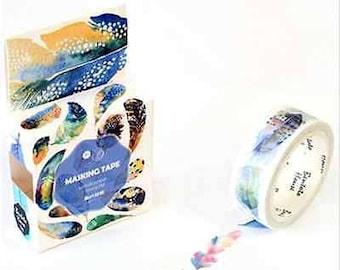 Feather Washi Tape, Watercolor Feathers Washi Tape, Colorful Bird Feather Washi Tape, Illustrated Animal Feathers washi tape, Scrapbooking