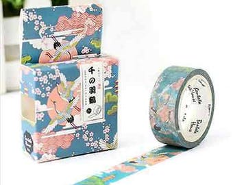 Asian Inspired Washi Tape, Floral Washi Tape with Birds, Blue Washi Tape with Cherry Blossoms Asian Washi Tape with Flying Cranes