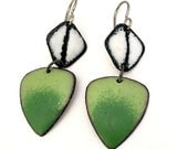 Pantone Greenery Matte Geometic Enamel Earrings black and white titanium earwires hypoallergenic
