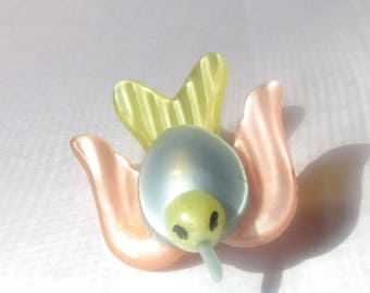 Adorable Pink Yellow and Blue Plastic Bird Pin Brooch 1940