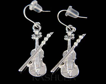 Swarovski Crystal Simple Violin Fiddle Bow Viola Cello Charm Dangle Earrings Jewelry Jewellery Music Musical Christmas Best Friend Cute Gift