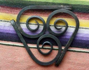 Trivet hand forged spiral steel blacksmith made folk art kitchen decor