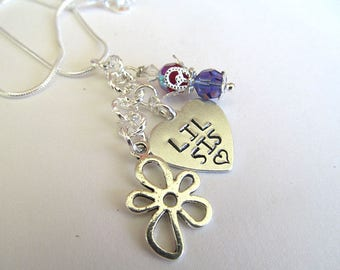 Personalized Necklace, Stamped Jewelry, Lil Sis, Birthstone Jewelry, Sister Charm Necklace, Family Necklace, Hand Stamped Necklace