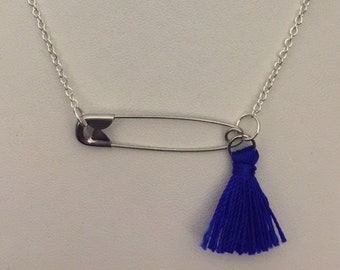 Tassle safety pin necklace