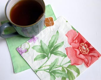 Suffolk Rose Cloth Cocktail Napkins / floral cloth napkins / cocktail bar napkins / happy hour drink napkin / Mothers Day gift for tea lover