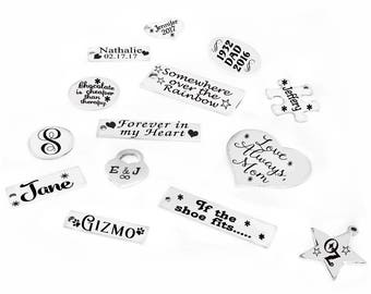 Personalized 316L Stainless Steel Charm, Stainless Steel Round Charm, Heart Charm, Rectangle Charm, Add to Jewelry, Laser Engraved