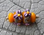 Raised Floral Pair Lampwork Beads by Cherie Sra R114 Earring pair Flameworked Glass Beads Lampwork Lavender Flower Earring Pair Yellow Bead