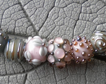 Spring Romance Pink Gray Silver Glass Lampwork Beads by Cherie Sra R114 Flameworked Glass Bead Lampwork Bead Double Helix Silver Glass Pink