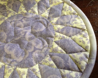 Quilted candle mat hotpad sunflower quilt design ready to ship lavender off white handmade mini quilt