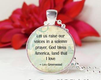 Round Medium Glass Bubble Pendant Necklace- God Bless America- Lee Greenwood Song Lyrics