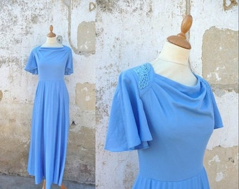 ON SALE 20% Vintage 1970s maxi dress wraped neckline and butterfly sleeves
