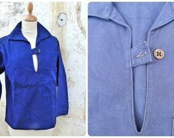 Vintage  1960s French blue faded chore jacket/worker jacket/Bleu de travail/Vareuse/Nautical