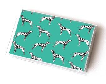 NEW Handmade Vinyl Card Holder - Dalmatian Green  / card case, vinyl wallet, women's wallet, small wallet, pretty, gift, dog, pet, dalmatian