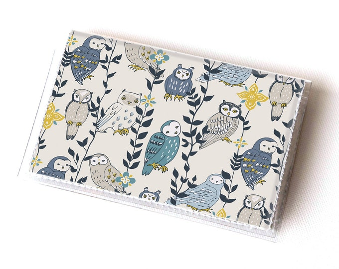 NEW Handmade Vinyl Card Holder - Owls in Flowers  / card case, vinyl wallet, women's wallet, small, pretty, floral, flowery, gift, owl, bird