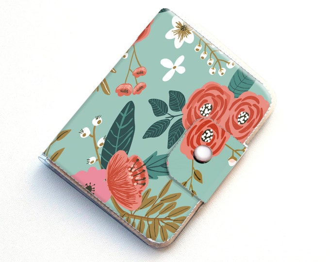 Handmade Vinyl Passport Case - Botanical Blue / traveller, passport, vinyl, gift, womans, wallet, pink, floral, flowers, gardener