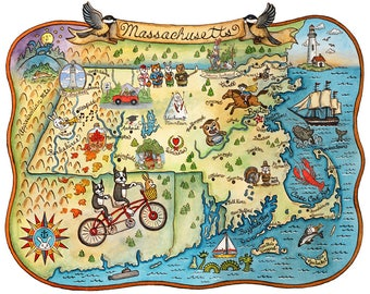 "State Map of Massachusetts 16"" x 20"" Art Print"