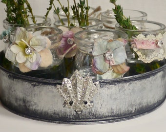 French Style  Farm Chic Round Tray Of Vases - Center Piece Chic - Fresh Herbs Table Display - Boho Wedding- Shabby Loveliness -