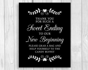 Sweet Ending to a New Beginning Printable 5x7, 8x10 Wedding or Bridal Shower Candy Buffet Sign - Black and White with Hearts and Laurels