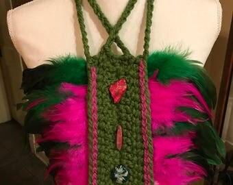 Pink & Green Earthy Glamour Crochet Bib Necklace - Ready to Wear