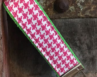 keychain wristlet, key fob wristlet, keychain, key wrist strap-hot pink herringbone on Lime