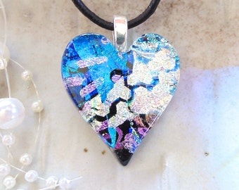 Blue Necklace, Silver, Pink, Heart Pendant, Dichroic Jewelry, Necklace Included, One of a Kind, A8, AF