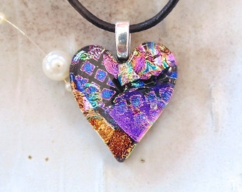 Dichroic Pendant, Heart Necklace, Glass Jewelry, Pink, Magenta, Purple, Gold, Necklace Included, A8